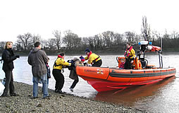 High tide catches group at Chiswick Eyot