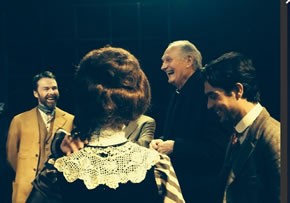 Alan Alda shares a joke with the cast- Pic Torin Douglas