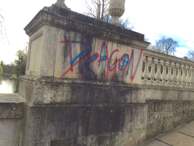 Bridge at Chiswick House vandalised