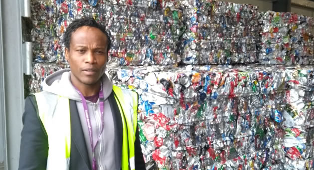 ron mushiso at recycling centre